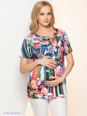 Блузка I love mum. Цвет: зеленый, красный