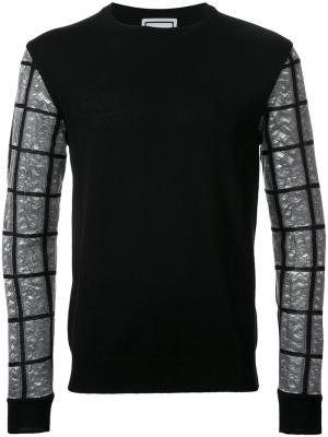 Джемпер с рукавами в клетку Wooyoungmi. Цвет: чёрный