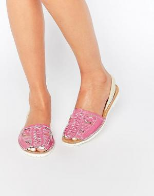 Park Lane Плетеные кожаные сандалии с ремешком на пятке. Цвет: розовый