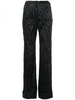 Расклешенные жаккардовые брюки N Duo. Цвет: чёрный