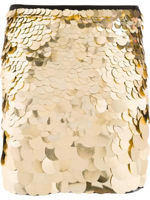 Юбка с пайетками Trina Turk. Цвет: металлический