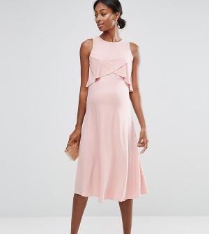 ASOS Maternity Двухслойное платье миди для беременных WEDDING. Цвет: розовый