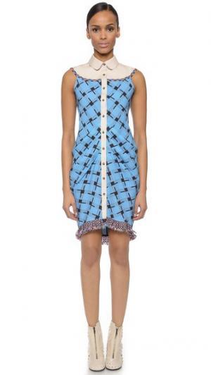Платье на пуговицах с бахромой CG. Цвет: принт «плавательный бассейн»