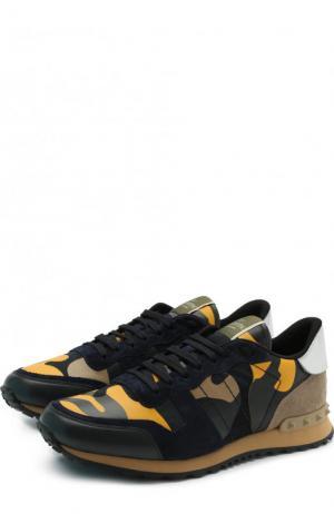 Комбинированные кроссовки  Garavani Rockrunner с замшевой отделкой Valentino. Цвет: темно-синий