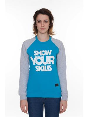 Толстовка SKILLS W Show You Crewneck. Цвет: синий, лазурный, серый меланж