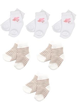 Носки детские махровые, комплект 6 шт. Malerba. Цвет: бежевый, белый