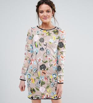 True Decadence Tall Платье с длинными рукавами и вышивкой. Цвет: мульти