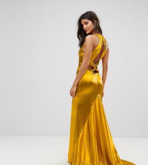 Jarlo Платье макси с американской проймой, юбкой-годе и открытой спиной Jarl. Цвет: оранжевый