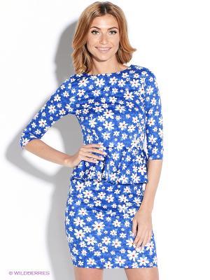 Платье TuttoBene. Цвет: синий, белый