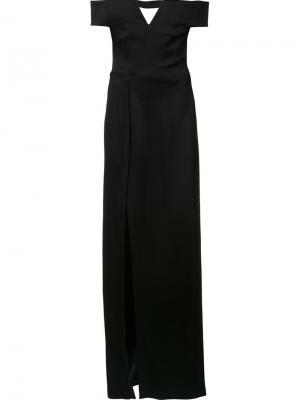 Вечернее платье с открытыми плечами Galvan. Цвет: чёрный