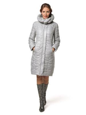 Стеганое пальто DizzyWay. Цвет: светло-серый, серо-коричневый