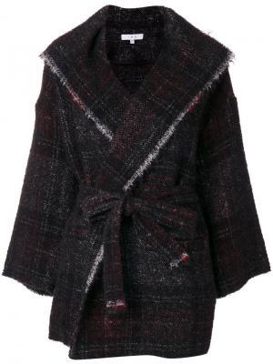 Пальто в клетку с необработанными краями Iro. Цвет: чёрный