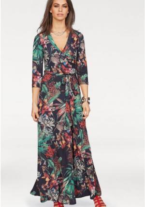 Платье макси Laura Scott. Цвет: с рисунком/черный/изумрудный/коричневый