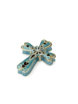Крест - шкатулка Holy Land Collections. Цвет: голубой