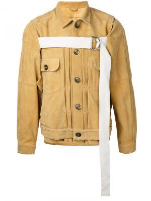 Куртка на пуговицах с контрастной лямкой Maison Mihara Yasuhiro. Цвет: жёлтый и оранжевый