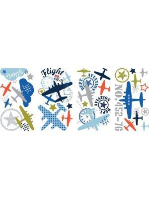 Наклейки для декора - Авиация ROOMMATES. Цвет: белый, голубой, желтый, зеленый, красный, оранжевый, серый, синий, черный