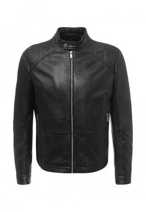 Куртка кожаная Hugo Boss. Цвет: черный
