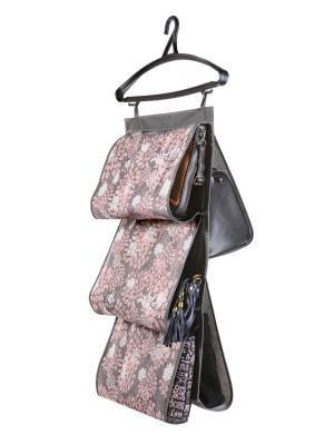 Кофр для сумок, двусторонний 5 карманов, 40х70см Серебро 909 COFRET. Цвет: серый, белый, розовый