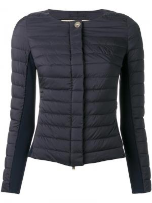 Дутая куртка на молнии без воротника Herno. Цвет: чёрный