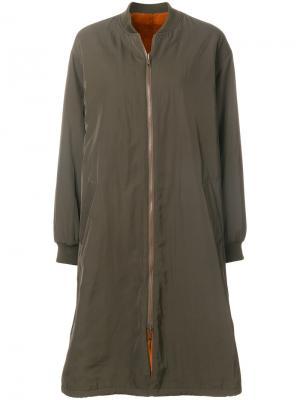 Двухстороннее пальто на молнии Army Yves Salomon. Цвет: зелёный
