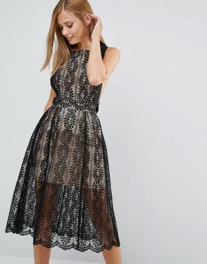 Keepsake Кружевное платье Upown. Цвет: черный