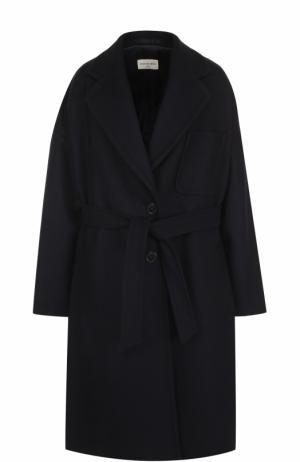 Шерстяное пальто с поясом Dries Van Noten. Цвет: темно-синий