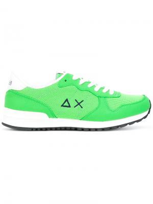 Кроссовки на шнуровке Sun 68. Цвет: зелёный