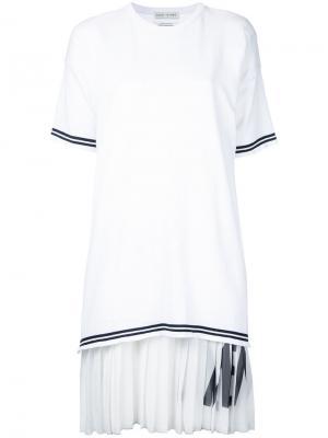 Плиссированное платье Each X Other. Цвет: белый
