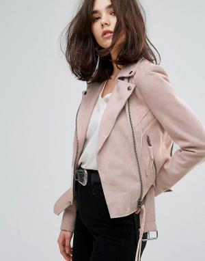 Muubaa Замшевая байкерская куртка с поясом Warren. Цвет: розовый
