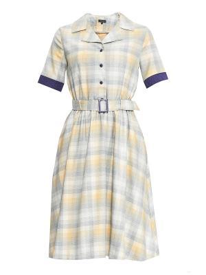 Платье Sarafan. Цвет: серо-голубой, кремовый