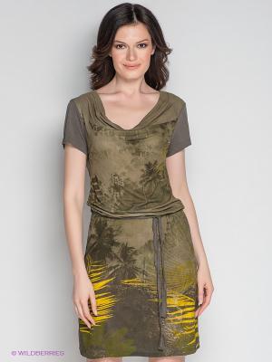 Платье Not The Same. Цвет: хаки, желтый, серо-коричневый