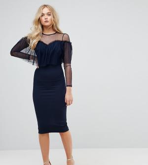 ASOS Tall Облегающее платье миди с длинными рукавами и оборкой. Цвет: темно-синий