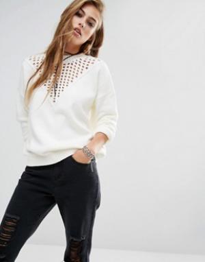 Lira Джемпер с круглым вырезом и вставкой кроше спереди. Цвет: белый