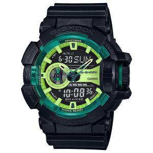 Электронные часы  Ga-400ly-1a True Black/Green Casio G-Shock. Цвет: черный,зеленый