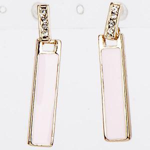 Серьги Фиеста бижутерный сплав, эмаль арт. EAR-337 Бусики-Колечки. Цвет: розовый