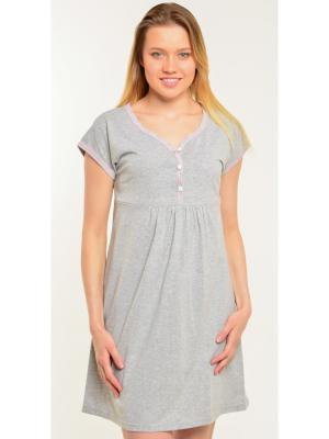 Платье-сорочка на пуговицах Ням-Ням. Цвет: серый меланж, розовый