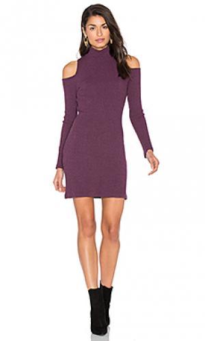 Свободное мини платье с вафельной вязкой Splendid. Цвет: фиолетовый