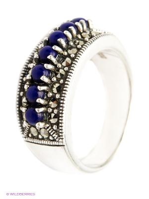 Кольцо МАРКАЗИТ. Цвет: серебристый, темно-синий