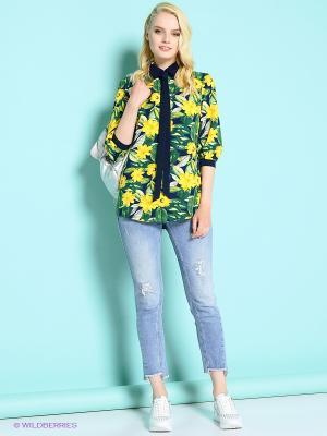 Блузка Colambetta. Цвет: желтый, синий, зеленый