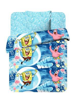 Комплект постельного белья Губка Боб Василек. Цвет: голубой