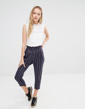I Love Friday Укороченные брюки в полоску. Цвет: темно-синий