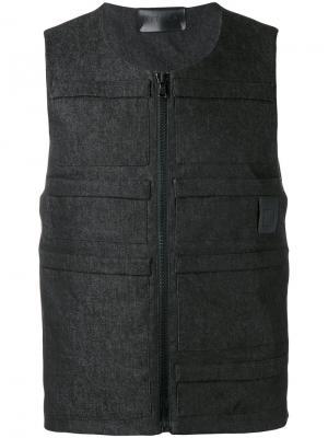 Джинсовый жилет-бомбер Letasca. Цвет: чёрный