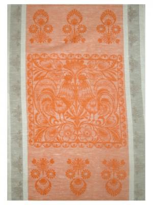 Полотенце Петушок Белорусский Лен. Цвет: серый, оранжевый