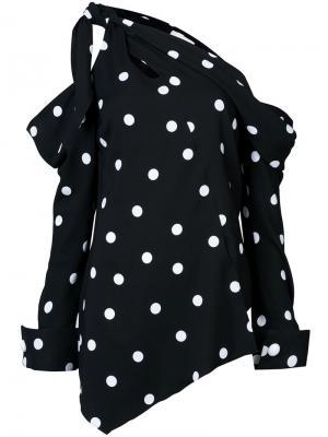Асимметричная блузка с открытым плечом Monse. Цвет: чёрный