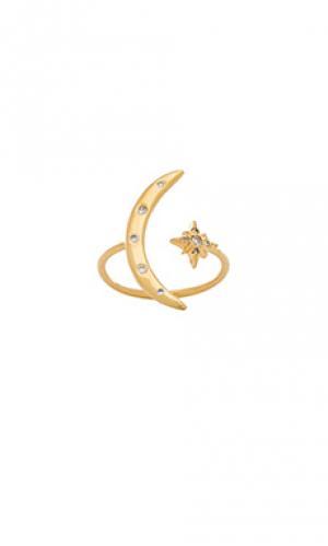 Кольцо Jacquie Aiche. Цвет: металлический золотой