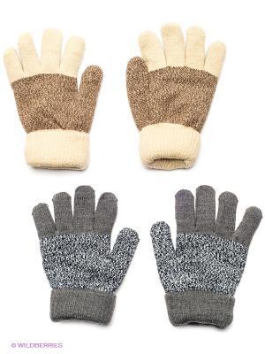 Перчатки, 2 пары FOMAS. Цвет: темно-серый, бежевый