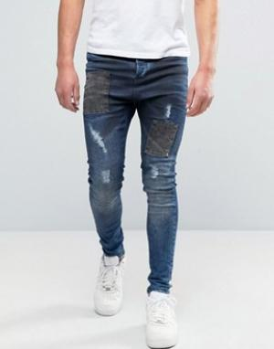 SikSilk Синие джинсы с заниженным шаговым швом Deepsea. Цвет: синий