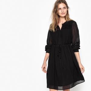 Платье однотонное расклешенного покроя, длина миди, 3/4 SUD EXPRESS. Цвет: черный