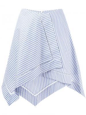 Полосатая асимметричная юбка J.W.Anderson. Цвет: синий