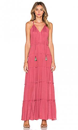 Макси платье с v-образным вырезом и завязкой кисточками T-Bags LosAngeles. Цвет: сиреневый
